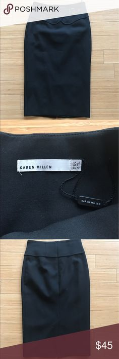 Karen Millen Midi Skirt Gorgeous skirt great for the office! New without tags- still has string tag was on attached. Never worn! Great piece! Karen Millen Skirts Midi
