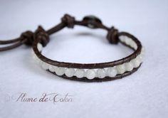 Moonstone leather Wrap bracelet