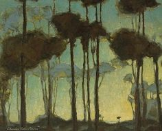 Charles Rollo Peters (American, 1862-1928), Light beyond the trees. Oil on canvas affixed to board, 25 1/2 x 32 in.