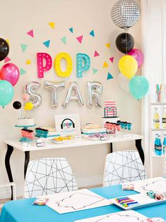 How to Throw the Ultimate POP STAR Party! (Kids Birthday) // Hostess with the Mostess® - - As part of their milestone birthday celebration, I was asked to dream up and share some creative ideas for throwing the Ultimate KIDZ BOP Pop Star Party. Karaoke Party, Rockstar Party, Rockstar Birthday, Bubble Birthday Parties, Birthday Party Desserts, Birthday Celebration, 7th Birthday, Birthday Ideas, Disco Party