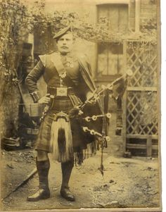 """Piper George Findlater, Gordon Highlanders. Awarded the Victoria Cross for his gallantry at the storming of the Dargal Heights on the North West frontier of India in 1897. Findlater was decorated for continuing to play his pipes after he had been wounded and propped himself up and while exposed to  enemy fire continued to play 'The Haughs o' Cromdale'... """"I thought that the charge would be better led by a quick strathspey, but I was bleeding profusely and in a few minutes sickened."""""""