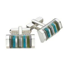 Oblong Blue & Grey Shell Cufflinks by Ted Baker on http://coolcufflinks.co.uk
