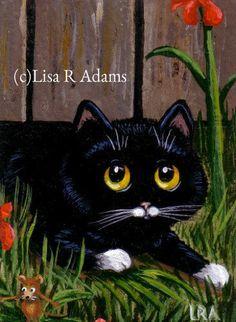 Black Tuxedo Cat Mouse ACEO mini print of painting Giclee Art  Creationarts #Miniature