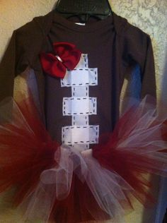 Size 36mo Long sleeve football baby outfit with tutu by Layne2010, $38.00