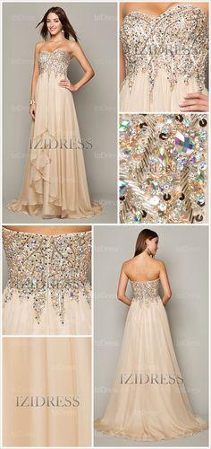 A-Line/Princess Strapless Sweetheart Chiffon Prom #Dresses #style #Fashion