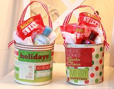 Great Christmas pails made from baby formula cans. Cute containers for baked goods or homemade candies. And, could use for birthdays or holidays.