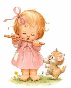 My cat My love Girl Cartoon, Cute Cartoon, Cartoon Art, Illustration Mignonne, Baby Illustration, Vintage Clipart, Vintage Postcards, Cute Images, Cute Pictures