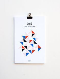 SALE  2015 wall calendar  shapes by dozi on Etsy