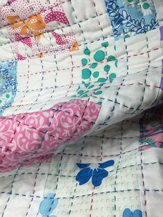 In progress - big stitch quilting using perle cotton thread. Hand Quilting Designs, Quilting Tutorials, Quilting Projects, Quilting Tips, Quilt Baby, Sarah Fielke Quilts, Modern Quilt Blocks, Book Quilt, Quilt Stitching
