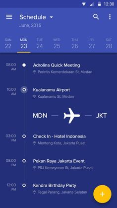 Extremely Helpful Apps You Should Have When Travelling Schedule Application Interface – Mobile app by Afrian Hanafi