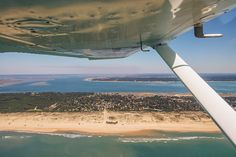 Flying over the Arcachon Bay : Cap Ferret : France : Gironde : in a C152