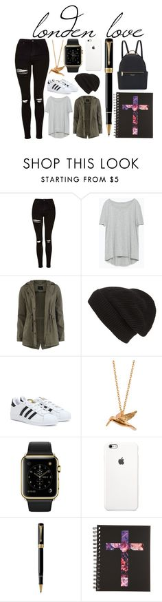 """londen trip"" by andreatatum on Polyvore featuring Topshop, Zara, Dorothy Perkins, Phase 3, adidas, Alex Monroe, Parker and Henri Bendel"