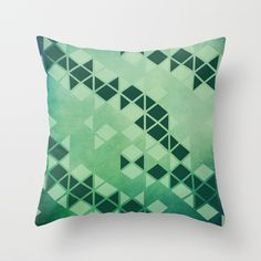 Forest Green - Geometric Triangle Pattern Throw Pillow by PELAXY - Cover x with pillow insert - Indoor Pillow Down Pillows, Throw Pillows, Triangle Pattern, Poplin Fabric, Pillow Inserts, Abstract, Zipper, Stylish, Room