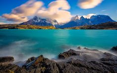 Lataa kuva Dixon Lake, blue lake, vuoret, Andes, Chilen Etelämantereen, Torres del Paine, Magallanes, Chile