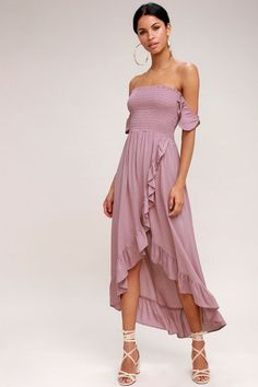 This off-the-shoulder dress is sure to be a sunny day fave with its fluttering short sleeves, and perfect fit, smocked bodice. Ruffle trim adds femme flair along the wrapping high-low skirt, composed of lightweight woven fabric. Vestidos Retro, Vestidos Color Rosa, Ruffle Dress, Boho Dress, Ruffle Trim, Dress Skirt, Wrap Dress, Mauve Dress, Pink Dress