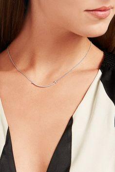 """Tiffany & Co. - T Smile 16"""" 18-karat White Gold Diamond Necklace"""