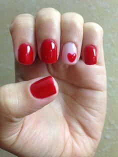 Valentine nails, red manicure