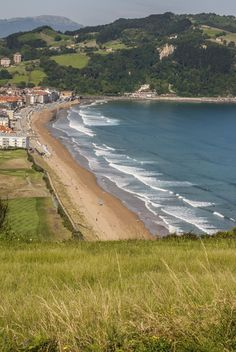 Zarautz, a popular coastal town for surfers in Northern Spain.