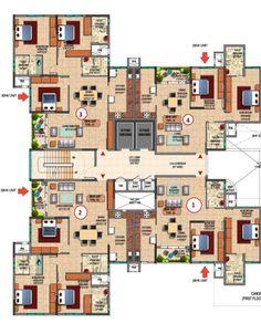 Prestige_Royale_Gardens_Floor_Plan  www.bangalore5.com Residential Building Plan, Building Design Plan, Home Design Plans, Building Plans, Sims House Design, Unique House Design, Apartment Floor Plans, House Floor Plans, Circle House