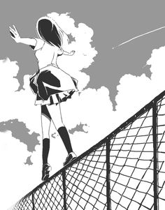 Monochrome anime manga girl