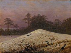 ..: Caspar David Friedrich, Snow Hill with Ravens