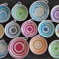 Rope bowl anyone? This lot is heading out the door but can make any colour you… Rope Basket, Basket Weaving, Sewing Crafts, Sewing Projects, Fabric Bowls, Rope Crafts, Star Quilt Patterns, Textiles, Fabric Scraps