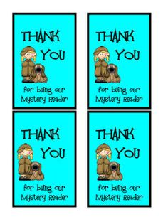 Thank you notes to mystery readers and guest speakers