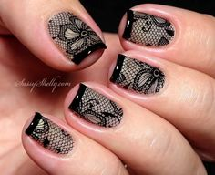 Black French Tip and Lace Nail Art