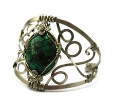 Wire Wrapped Turquoise Cuff Bracelet by Hyppiechic on Etsy, $57.00