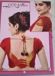 pink saree with golden border Patch Work Blouse Designs, Simple Blouse Designs, Saree Blouse Neck Designs, Kurtha Designs, Choli Designs, Sleeve Designs, Designer Blouse Patterns, Blouse Styles, Pink Saree