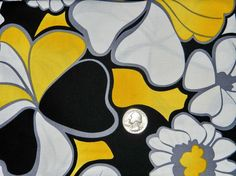 Items similar to Large Yellow Black and Gray Flowers by Fabri-Quilt - Fabric By The Yard on Etsy Black And Grey Bedroom, Gray Bedroom, Black Granite Countertops, Grey Kitchens, Black Flowers, Chair Fabric, Grey Walls, Black Pattern, Vintage Wood