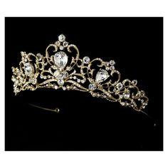 Gold Rhinestone Crystal Elegant Bridal Tiara