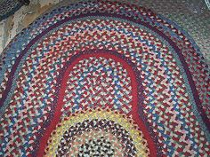 Antique Hand Made Wool Braided Rug Vintage 1950 Rugs And