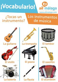 Do you #play any #instruments or enjoy listenning to #music? Then learn these instruments in Spanish :D #LearnSpanish #SpanishSchool #SpanishVocab