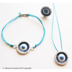 Silver evil eye necklace /bracelet /silver talisman for evil eye... ($52) ❤ liked on Polyvore featuring jewelry, evil eye charm, silver jewellery, silver jewelry, silver charms and charm jewelry