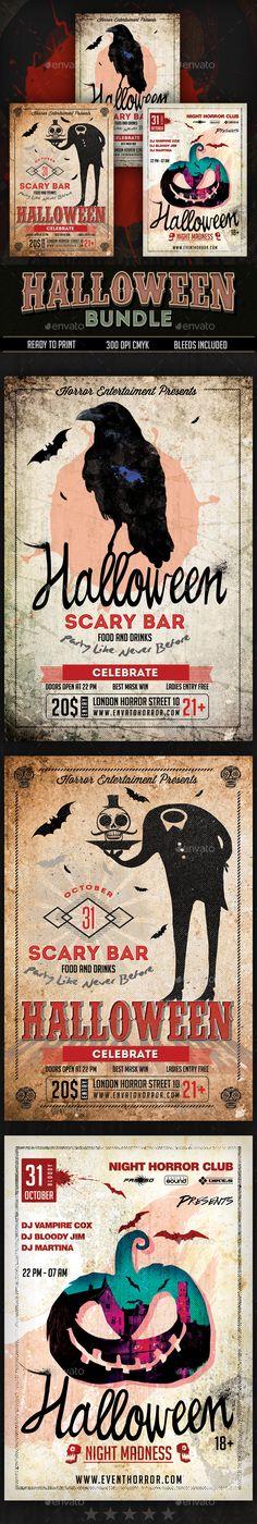 Halloween Flyers Bundle  — PSD Template #club • Download ➝ https://graphicriver.net/item/halloween-flyers-bundle/18207020?ref=pxcr