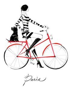 parisian girl x black dog x red bike