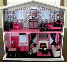 Homemade dollhouse, ill be pinning ours when its completely finished ;-)