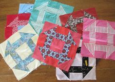 Vintage Churn Dash Quilt Blocks Handstitched by AStringorTwo, $22.00