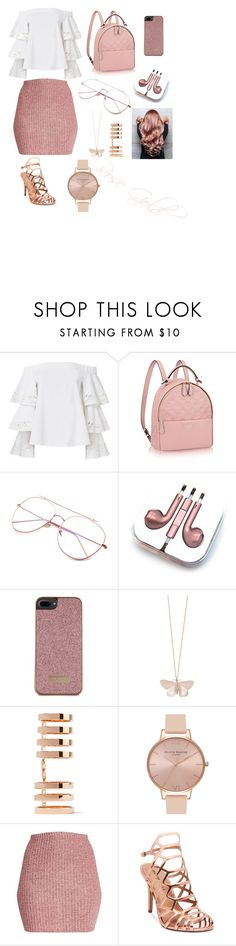 """Rose Gold"" by rumaisa-hadia ❤ liked on Polyvore featuring Exclusive for Intermix, PhunkeeTree, Ted Baker, Alex Monroe, Repossi, Olivia Burton and Madden Girl"