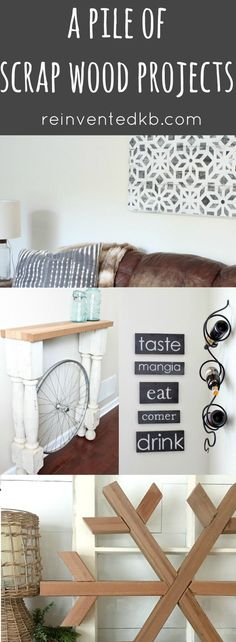 Raid your wood pile and create these DIY scrap wood projects! Add rustic farmhouse style to your home using scrap wood and a little creativity. Repurposed Wood Projects, Wood Projects For Kids, Scrap Wood Projects, Kids Wood, Diy Furniture Projects, Diy Projects, Pallet Projects, Pallet Ideas, Woodworking Plans