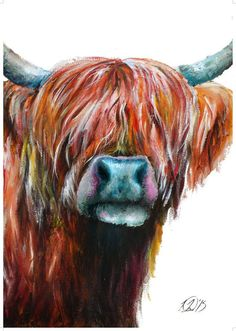 Highland Cow painting Highland Cow print Cattle by LaurieRayeArt Highland Cow Painting, Highland Cow Art, Highland Cattle, Farm Paintings, Animal Paintings, Colorful Paintings, Wow Art, Cow Print, Watercolor Animals