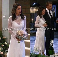 Sam Cain's Chantilly Lace Wedding Dress - General Hospital, Season Episode Kelly Monaco, Worn on Wardrobe Movie Wedding Dresses, Celebrity Wedding Dresses, Wedding Movies, Celebrity Weddings, Lace Wedding, Casual Wedding, Bold And The Beautiful, Silk Charmeuse, Chantilly Lace