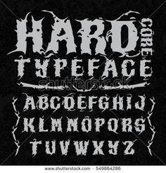 Hardcore typeface. Stylish grunge font on grunge background, good for labels, logos, posters, tee-shirts.
