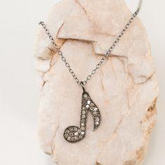 Pave Diamond   Rose Diamond Music Note Charm Necklace  by delezhen, $115.00 #music #charm #diamonds