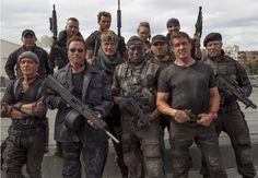 Who's starring: Sylvester Stallone, Arnold Schwarzenegger, Jason Statham, and Kellan Lutz, to name a few. Mel Gibson, Jason Statham, Harrison Ford, Sylvester Stallone, Arnold Schwarzenegger, Terry Crews, Kellan Lutz, The Expendables 3, Ronda Rousey