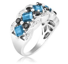 $29.99 - London Blue Topaz and Black Spinel Diamond Accent Sterling Silver Ring