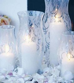 Spray paint over lace for centerpiece vases