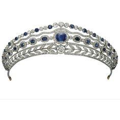 Tiaras Sapphires ❤ liked on Polyvore featuring jewelry, tiara, crowns, coroas, graduation jewelry, leaf jewelry, sapphire jewelry, sapphire jewellery and crown jewelry