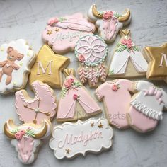 Pink & Gold Sweet Boho Baby Girl Cookies (Madyson)